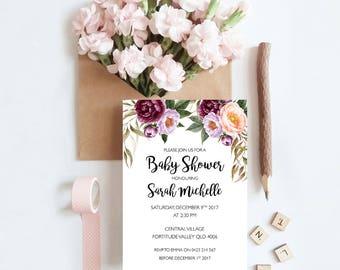 Marsala Blooms Baby Shower Invitation