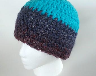 Turquoise and Amethyst Beanie Crochet Hat