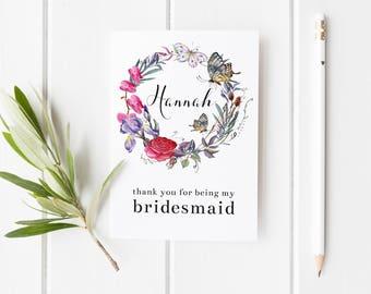 Thank You Bridesmaid Card, Butterfly Wedding Card, Flower Girl Card, Card For Bridesmaid, Maid Of Honor Card, Summer Fairytale Wedding Card
