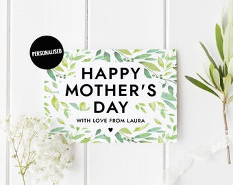 Floral Mothers Day Card, Personalized Mother's Day Card, Green Custom Mother's Day Card, Botanical Mother's Day, Card For Mom, Card For Mum