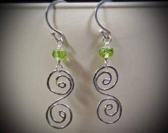 Sterling Silver and Peridot Earrings, Dangle Earrings, Peridot Earrings