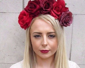 Large Red Burgundy Rose Flower Halloween Sugar Skull Headband Headpiece Big 3859