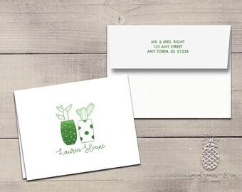 Cactus Letterpress Foil Thank You Cards & Envelopes - Correspondence Cards - Custom Stationery Note Cards