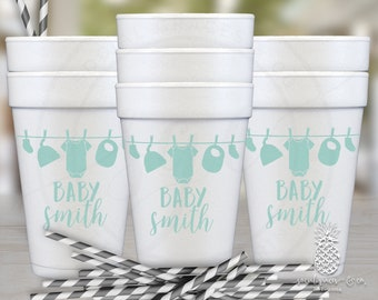 Clothesline Baby Shower   Customizable Party Foam Cups   social graces and co