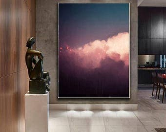 Large Abstract Painting, Cloud Painting, Extra Large Wall Art, Abstract Art, Pastel Cloudscape Art by CORINNE MELANIE ART