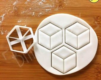 Hexagon Cuboid cookie cutter | Geometry biscuit design Geometric shape cookies cutters hexagonal cube gingerbread craft ooak | Bakerlogy