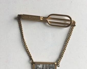 Swank Tie Bar Clip Chain Initial EJM Gold Silver Metal