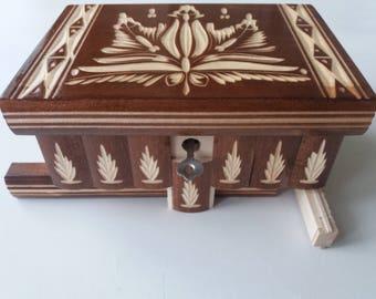 Jewelry box puzzle box brain teaser magic box  storage box secret box brown wooden case beautiful handcarved box gift for modern girl