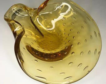 gorgeous vintage yellow Murano hand blown glass