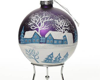 Blue Handpainted Glass Christmas Winter Church Bauble