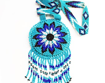 Vintage Native American, Blue Seed Beaded, Fringed, XL Medallion/Pendant Necklace