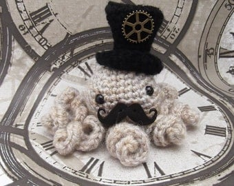SteamPunk Octopus, Chap, Amigurumi Octopus, Top Hat, Gothic, Octo, Cthulhu, Bronze, Cog
