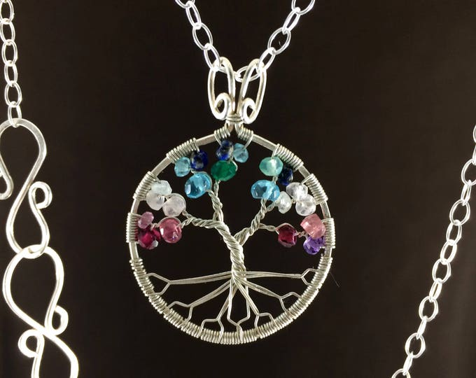 Silver Tree-Of-Life Boho Tree of Life Custom Gemstone Necklace Custom Tree of Life Gemstone Pendant Gift for Her Gift for Wife Gift for Mom