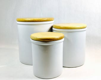 Dansk Canisters Set Vintage Bisserup White Ceramic Containers Storage White Kitchen Wood Lids  Modern Scandinavian Design