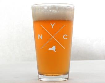 NYC Pint Glass   NYC Glass - Beer Glass - Pint Glass - Beer Glasses - Pint Glasses - Beer Mug - NYC - Gift for Dad