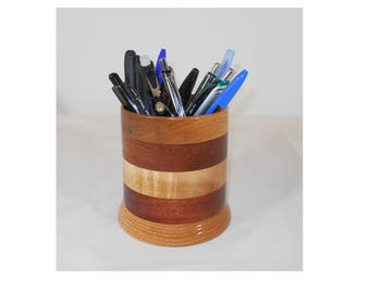 Wood Pencil Holder, Wooden Pen Cup, Office Desk Organizer (#143)