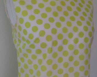 Vintage dress 60s mod scooter dress in lime green white spotted print turtle neckline size medium