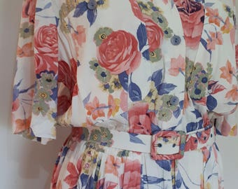Vintage dress 80s Mandy Marsh cream pink floral shirt style dress with short sleeves buttons down front large XL