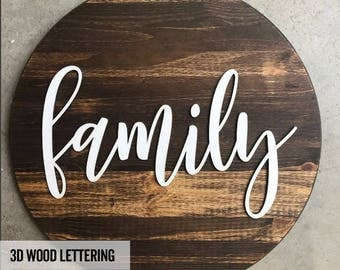 Round Family Sign - Wood Sign - Gifts for Her - Rustic Sign - Farmhouse - Fixer Upper - Living Room