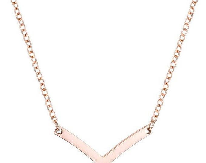 Chevron Necklace- Rose Gold Plated Chervon V Necklace  18 inches with a 2 inch extender- Trendy Chevron Necklace