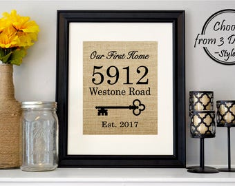 Realtor Closing Gift | Our First Home Print | Personalized Address Sign on Burlap