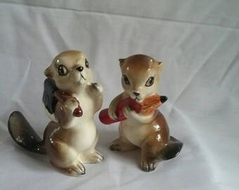 Vintage Squirrel Figurines, Cute and Weird, Japan
