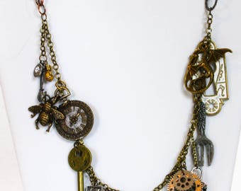 Steampunk Necklace; Steampunk Jewelry; Charm Necklace; Victorian Jewelry; Vintage Style
