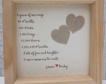 4th wedding anniversary gift, 4th linen anniversary present, 4th anniversary gift, linen anniversary, personalised frame, 4 year anniversary
