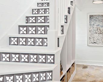 "Stair Riser Stickers - Removable Stair Riser Vinyl Decals - Bellota Pack of 6 in Flint- Peel & Stick Stair Riser Deco Strips - 48"" long"