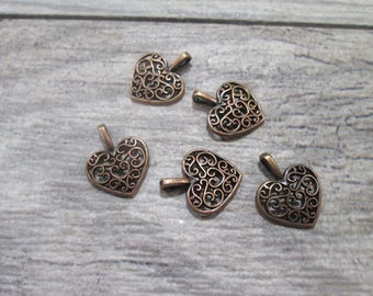 Copper Filigree Heart Charms package of 5 with Antique Copper finish Perfect for Pendants or Earring Findings and Fall Jewelry Making