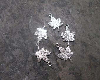 Fall Maple Leaf Charms in shiny antique silver finish Package of 5 charms Perfect for Adjustable Bangle Bracelets and Earrings Fall Jewelry