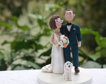 Couple hugging with pets. Arms around each other. Wedding cake topper or centerpiece. Handmade. Fully customizable cake topper