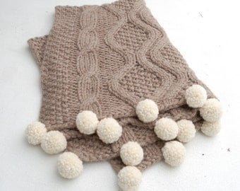 Baby alpaca cable knit blanket chunky pompoms, Stroller blanket natural brown, Crib quilt, Organic baby blanket, Eco friendly baby gifts