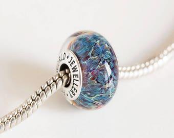 Artisan Lampwork beads. European charm bead. Silver cored bead. Large hole bead. Fits Pandora. European bracelet charms. Heady glass beads
