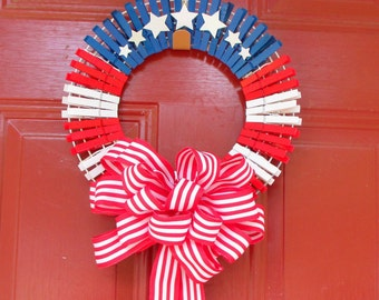 July 4th Wreath-Flag Wreath-Americana wreath-Stars and Stripes decor-4th of July wreath-Patriotic wreath-Summer door hanger-clothespin