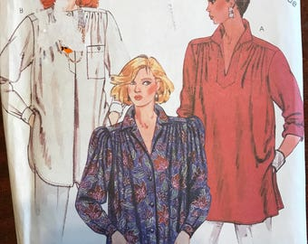 McCalls 2278 - 1980s Pullover Shirt with Gathers at Shoulders and Shaped Hem Option - Size Extra Large