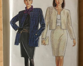 New Look 7388 - Unlined Princess Seamed Jacket in Waist or Mid Thigh Length and Slim Fitting Skirt in Knee Length - Size 8 10 12 14 16 18 20