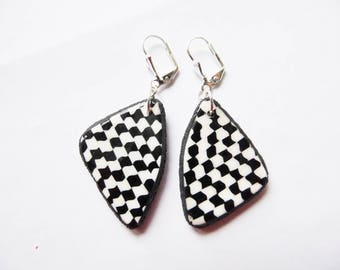 Fancy triangle polymer earrings dangling black and white checkered polymer clay