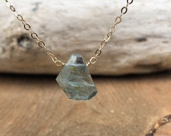 Gold Raw Aquamarine Necklace - Raw Aquamarine Pendant - March Birthstone Jewelry - Raw Crystal Necklace - Gift for Her