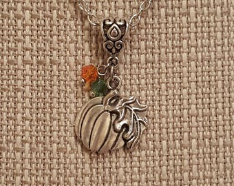 Pumpkin Necklace, Thanksgiving Necklace, Free Shipping