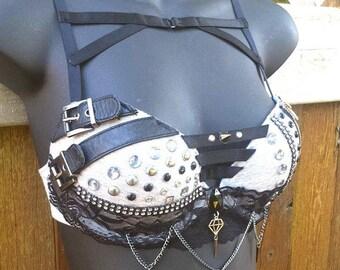 Harness Bra, MADE TO ORDER!!, Punk Top, Rave Bra, Lingerie, Rhinestone Bra, Edgy, Alternative, Rave Wear, Festival Bra, Burlesque Bra