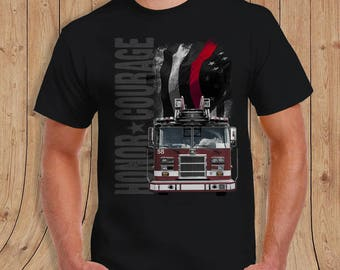 The thin Red Line American Flag thin blue line Fire fighter Shirt Black- t-Shirt Mens / womens/youth