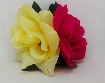Pink Lemonade double rose. Hair flower , hair accessory, hair clip.