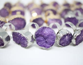 LOT of 31 Purple Druzy Gold and Silver Rings