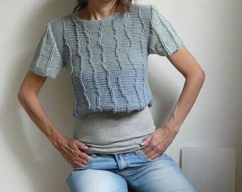 grey silver knit crop top