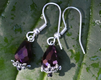 Iridescent Glass Drop Earrings