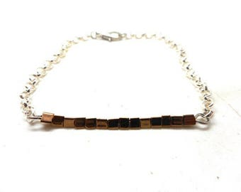 Silver triangular beads bronze bracelet