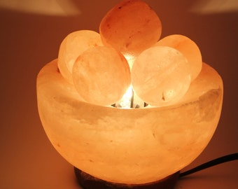 100% Pure Pink Himalayan Salt Fire Bowl w/ Carved Balls-Spheres Table Lamp & Dimmer Switch FREE SHIPPING Cleanses Air w/ Negative Ions