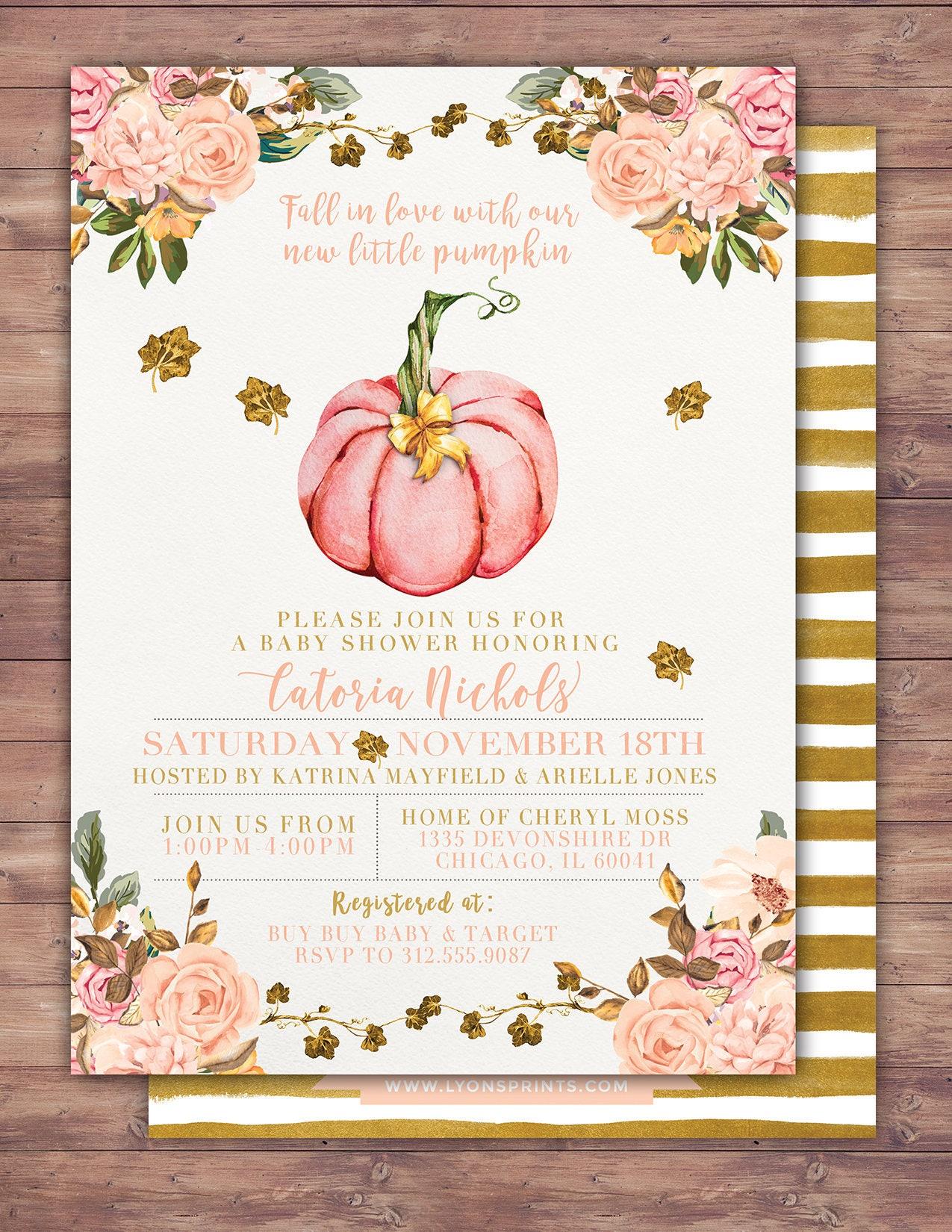 Girl Little Pumpkin Baby Shower Invitation, girl baby shower ...