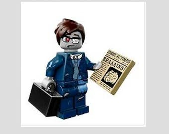 Zombie Businessman with Briefcase and Newspaper  Minifig Magnet or Push Pin/Thumb Tack, Dorm Room Decor, Cubicle Decoration